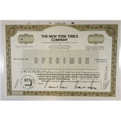 New York Times Co., 1985 Specimen Stock Certificate