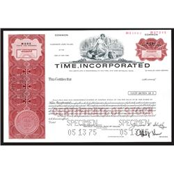 Time, Inc., 1975 Specimen Stock Certificate