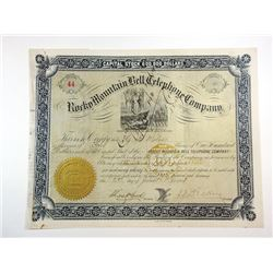 UT. Rocky Mountain Bell Telephone Co., 1883 Stock Certificate