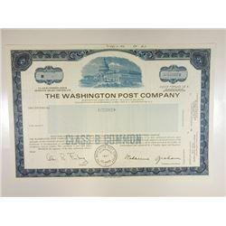 Washington Post Co., 1984 Specimen Stock Certificate.