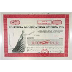 Columbia Broadcasting System, Inc., 1987 Specimen Bond