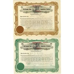 Crusader Films Corporation of America, 1920 Stock Certificate Pair.