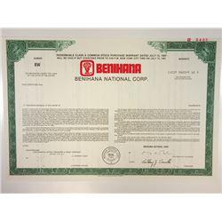 Benihana National Corp., 1987 Specimen Stock Certificate