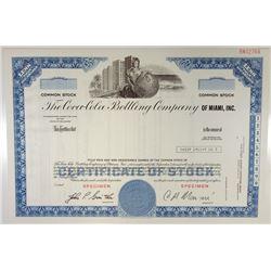 Coca-Cola Bottling Co. of Miami Inc., 1980s Specimen Stock Certificate