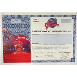 Planet Hollywood International, Inc., 1999 Specimen Stock Certificate