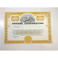 Ronson Corp., ca.1960-1970 Specimen Stock Certificate