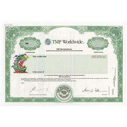 TMP Worldwide Monster Worldwide Inc. 1996 Specimen Stock Certificate.