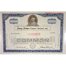 Fanny Farmer Candy Shops, Inc., 1969 Specimen Stock Certificate
