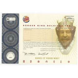 Burger King Holdings, Inc. 2006 Specimen Stock Certificate.