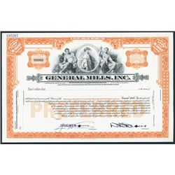 General Mills, Inc. Specimen Stock Certificate with Well Known Reapers Vignette.