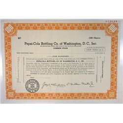 Pepsi-Cola Bottling Co. of Washington, D.C., Inc., 1977 Specimen Stock Certificate