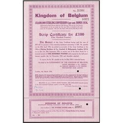 Kingdom of Belgium, 4% Bonds of 1936 Specimen.