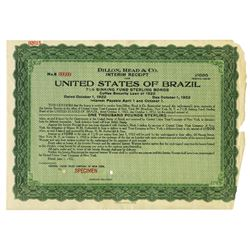 United States of Brazil, 1922 Specimen Bond Damaged & Missing Pieces