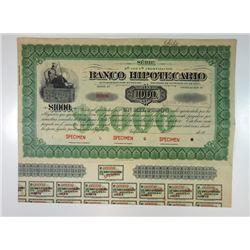 Banco Hipotecario, 1940s 1,000 Pesos Specimen