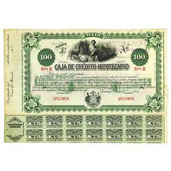 Caja de Credito Hipotecario, 1899 Specimen Bond -Green