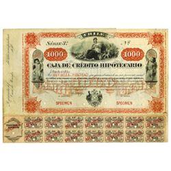 Caja de Credito Hipotecario, ca.1880-1900 Specimen Bond