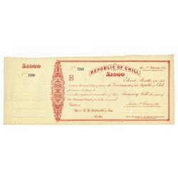 Republic of Chili, 1896 Specimen Treasury Bill.