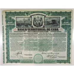 Banco Territorial de Cuba, 1911 Issued Stock Certificate