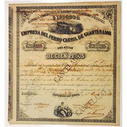 Empresa Del Ferro-Carril De Guantanamo 1882 Cancelled Stock Certificate