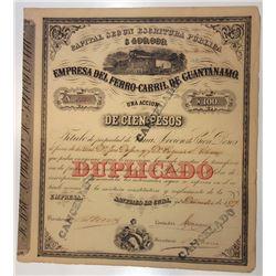 Emprese del Ferro-Carril de Guantanamo, 1877 Cancelled Stock Certificate