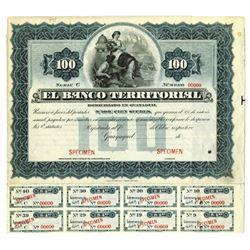 Banco Territorial, ca.1900-1910 Specimen Bond