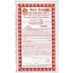 (London) Stock Exchange, 1899 Bearer Bond.