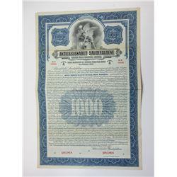 Aktieselskabet Saudefaldene (Sauda Falls Co. Ltd.) 1925 Specimen Bond