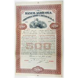 Banco Agricola e Hipotecario de Mexico, S.A. 1897 Specimen Bond.