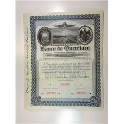Banco De Queretaro, 1903 Specimen Bond.