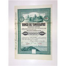 Banco De Tamaulipas, 1907 Specimen Bond