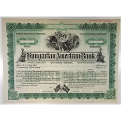 Hungarian American Bank of New York, ca.1910-1920 Specimen Stock Certificate