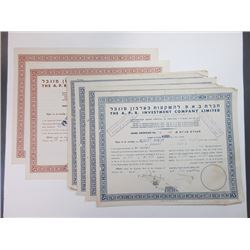 Group of A.P.B. Investment Co. Ltd., ca.1945-1954 Cancelled Stock Certificates