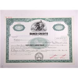 Banco Credito y Ahorro Ponceno, 1970s Odd Shrs Specimen Stock Certificate.