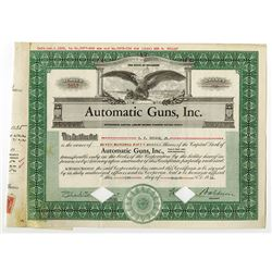 Automatic Guns, Inc. 1935 I/C/ Stock Certificate.