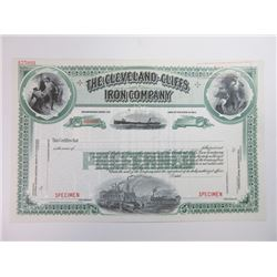 Cleveland-Cliffs Iron Co., 1929 Specimen Stock Certificate.