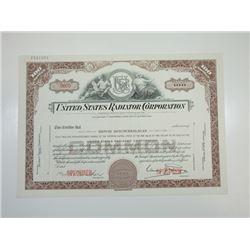 United States Radiator Corp., 1950s Specimen Stock Certificate