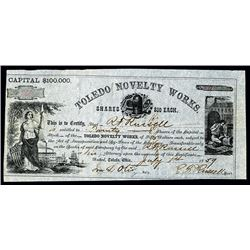 Toledo Novelty Works Issued Stock.