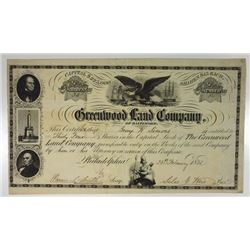 Greenwood Land Co., 1855 Issued Stock Certificate