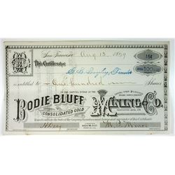 Bodie Bluff Consolidated Gold Mining Co., 1979 Issued Stock Certificate