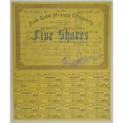 Hub Gold Mining Co., 1889 Issued Stock Certificate