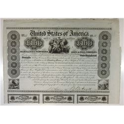 Maryland & New York Iron & Coal Co., 1840 Issued Bond