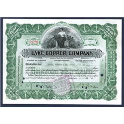 Lake Copper Co. 1922 Stock Certificate Signed by William Paine & Issued to His Firm Paine, Webber.