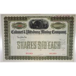 Calumet & Pittsburg Mining Co., 1904 Specimen Stock Certificate