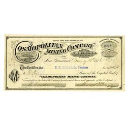 Cosmopolitan Mining Co., 1876 Issued stock certificate.