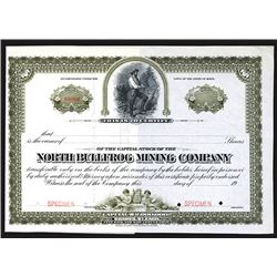 North Bullfrog Mining Co. 1900-1910 Specimen Stock Certificate.