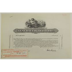 General Cigar Co., Inc., 1950 Specimen Stock Certificate