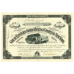 Great Eastern Gold Mining Co. of New York, 1881 Issued Stock Certificate