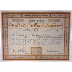 La Croix Mining Co., 1881 Issued Bond