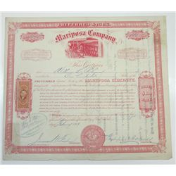Mariposa Co., 1869 Issued Stock Certificate
