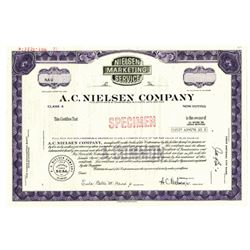 A.C. Nielsen Co., 1971 Specimen Stock Certificate -Brown